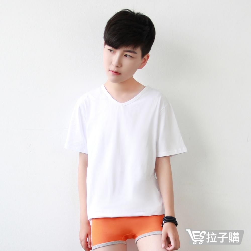 束胸 純棉短袖V領素色排鉤外穿 LESGO