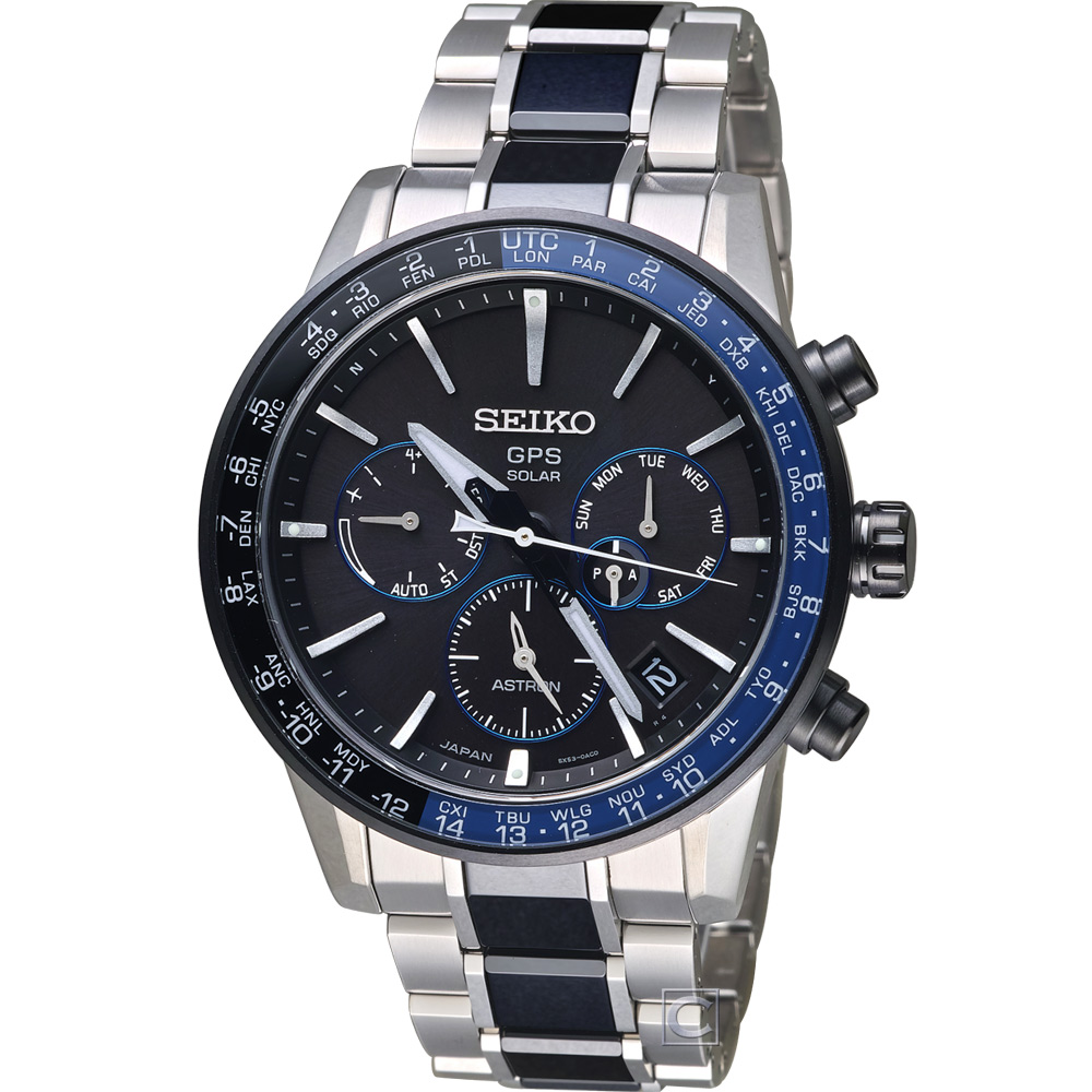 SEIKO ASTRON GPS 雙時區鈦金屬腕錶(SSH009J1)44mm