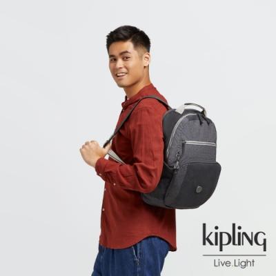 Kipling 迷霧板岩灰前後雙層收納後背包-TROY