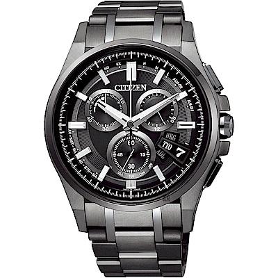 CITIZEN 星辰 鈦 光動能電波萬年曆手錶-黑/44mm(BY0094-87E)