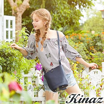 KINAZ 夢幻翅膀圓筒斜背包-星夜藍-蝴蝶系列