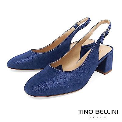 Tino Bellini 義大利進口細緻微光後拉帶中跟鞋 _ 藍