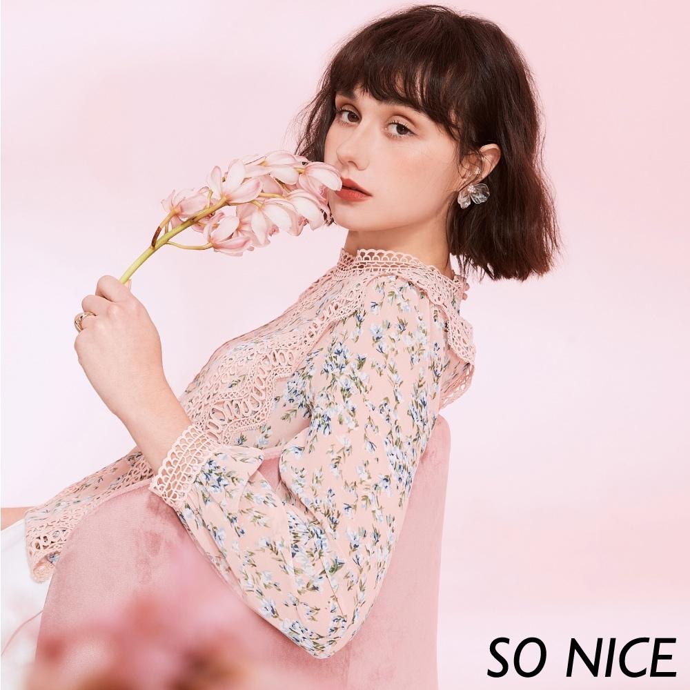 SO NICE甜美蕾絲造型碎花雪紡上衣