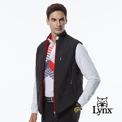【Lynx Golf】男款薄鋪棉防風保暖Lynx繡花雙面穿千鳥花紋無袖背心-黑/紅色