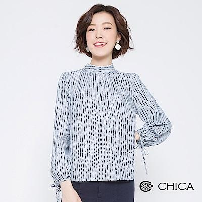 CHICA 經典法式圓點條紋小立領上衣(2色)