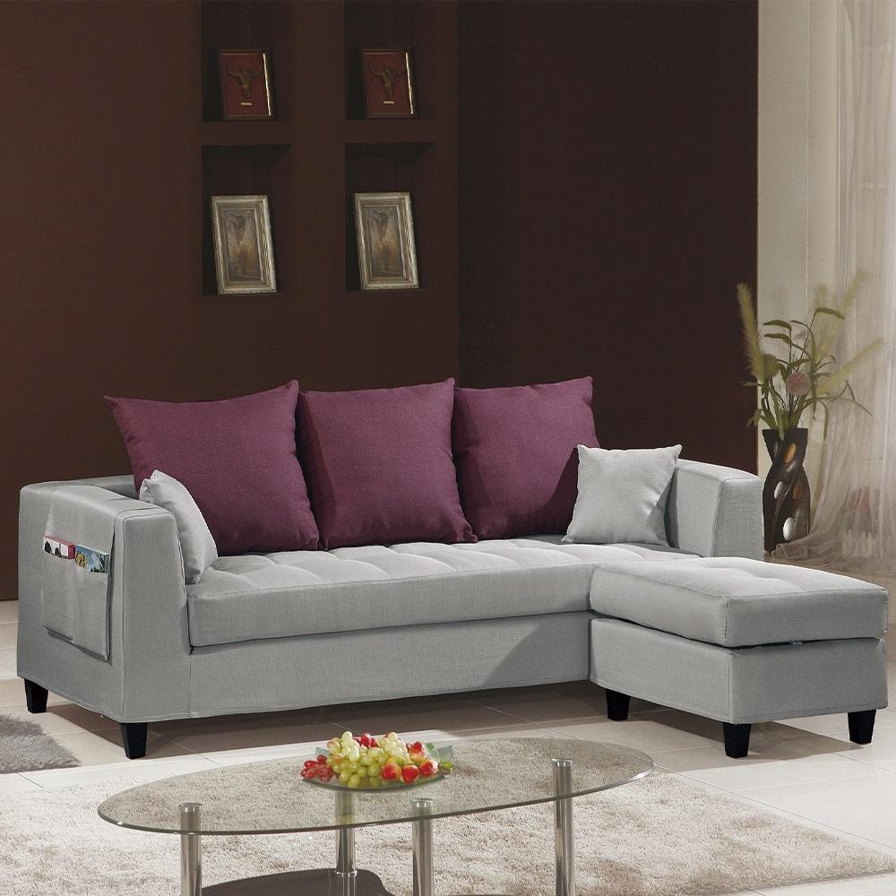 H&D 紗南L型灰色布沙發