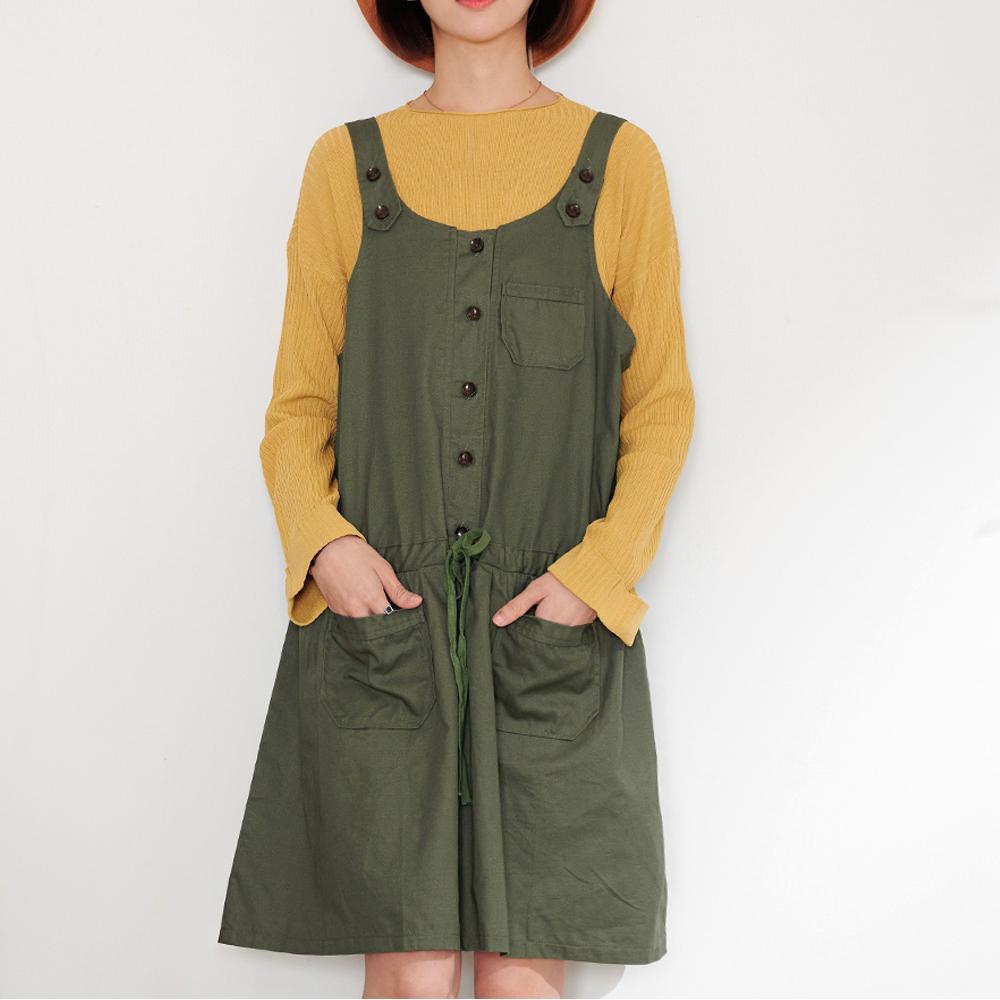 慢 生活 工裝束腰吊帶背心裙- 綠色
