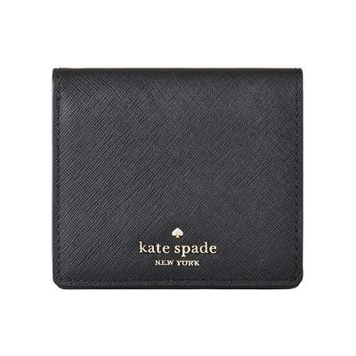 Kate Spade COVE STREET金字LOGO防刮牛皮5卡扣式短夾(黑)