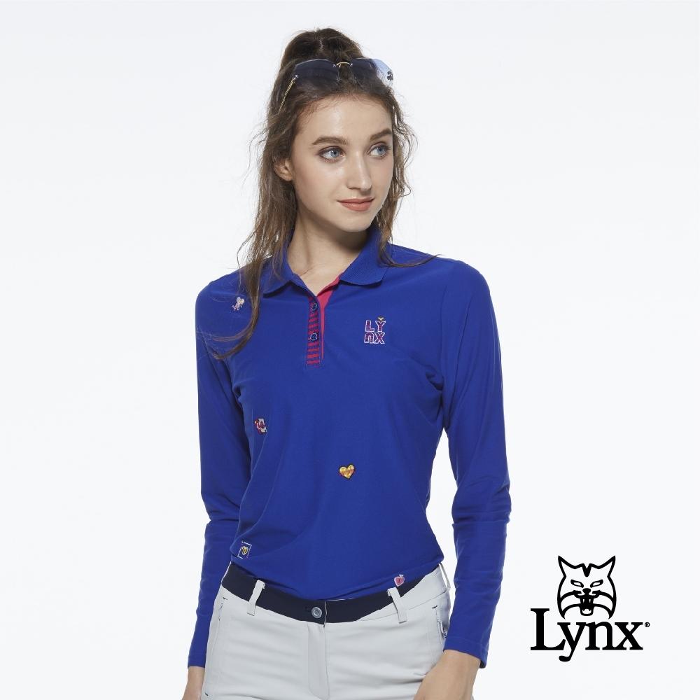 【Lynx Golf】女款遠紅外線保暖刷毛POKER圖樣繡花長袖POLO衫-寶藍色