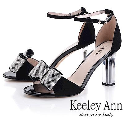 Keeley Ann氣質名媛 立體水鑽蝴蝶結粗跟鞋(黑色-Ann系列)