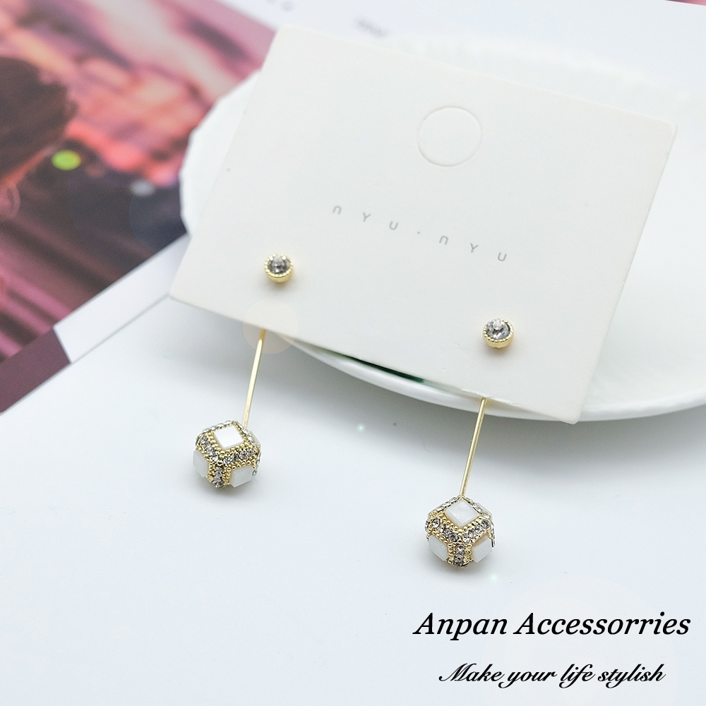 【ANPAN愛扮】韓東大門奢華鑽石魔術方塊前後扣925銀耳針式耳環