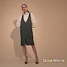 Bois White- 坑條V領針織洋裝- 綠/黑