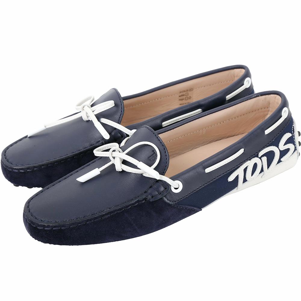 TOD'S Gommino 字母麂皮拼接休閒豆豆鞋(女鞋/夜藍色)