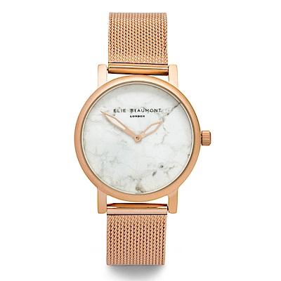Elie Beaumont 英國時尚手錶 大理石系列 白錶盤x玫瑰金錶框米蘭錶帶33mm