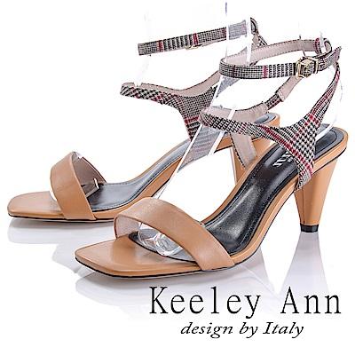 Keeley Ann 摩登時尚~格紋雙腳踝帶真皮軟墊高跟涼鞋(棕色-Ann)