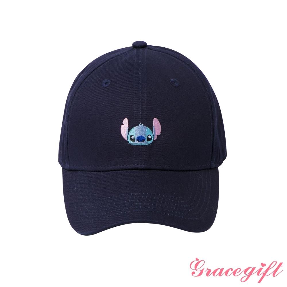 Disney collection by grace gift-迪士尼史迪奇電繡棒球帽 深藍