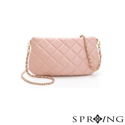 SPRING-經典羊皮系列菱格紋鍊條小方包-甜美粉