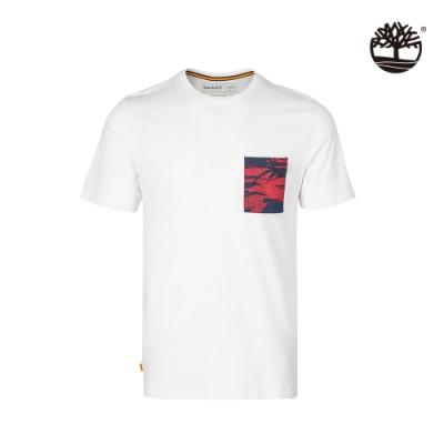 Timberland 男款白色胸前印花口袋有機棉 T恤 A24YC