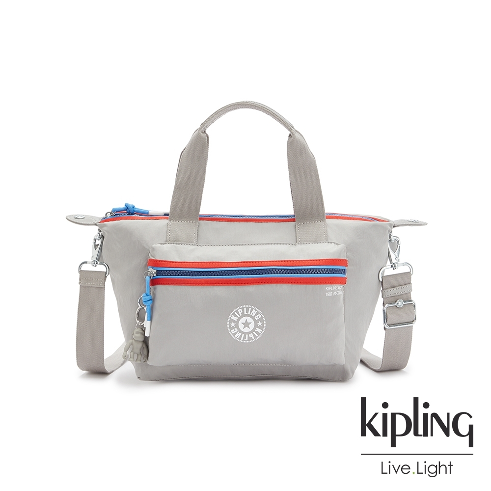 Kipling 前衛太空灰個性拉鍊手提肩背托特包-ART MINI P
