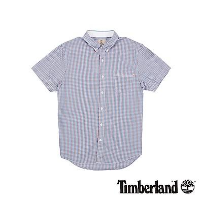 Timberland 男款藍紅細格紋修身短袖襯衫 | A1T42B10