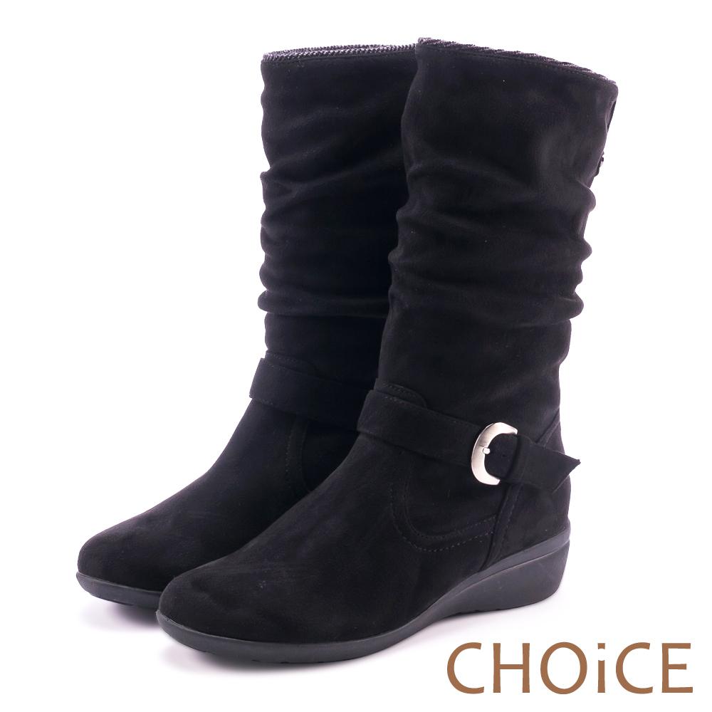 CHOiCE 冬日耀眼 2WAY絨布抓皺低跟短靴-黑色