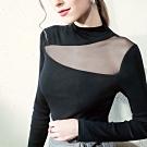 專注內搭-長袖T恤拼接網紗性感上衣半高領黑色內搭衫(S-2XL可選)