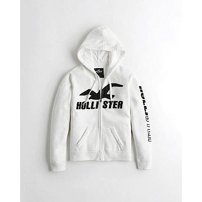 Hollister HCO 長袖 女 帽T  白色 0683