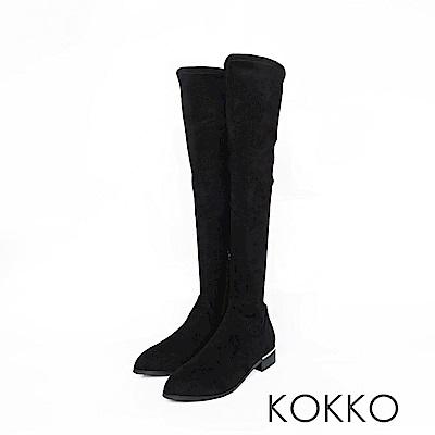 KOKKO -超顯瘦彈力金屬跟過膝襪靴 -霧面黑