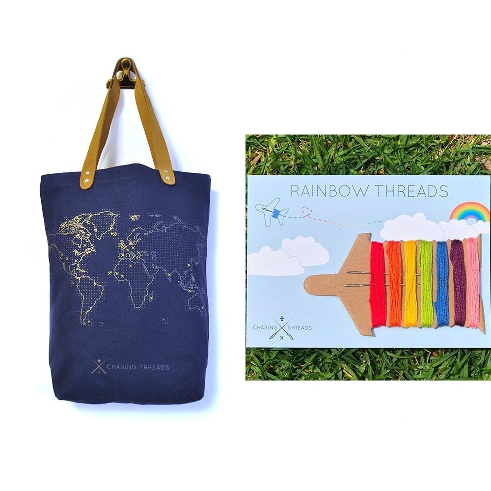 Chasing Threads  旅人專屬托特包(藍)+彩虹繡線限量超值組