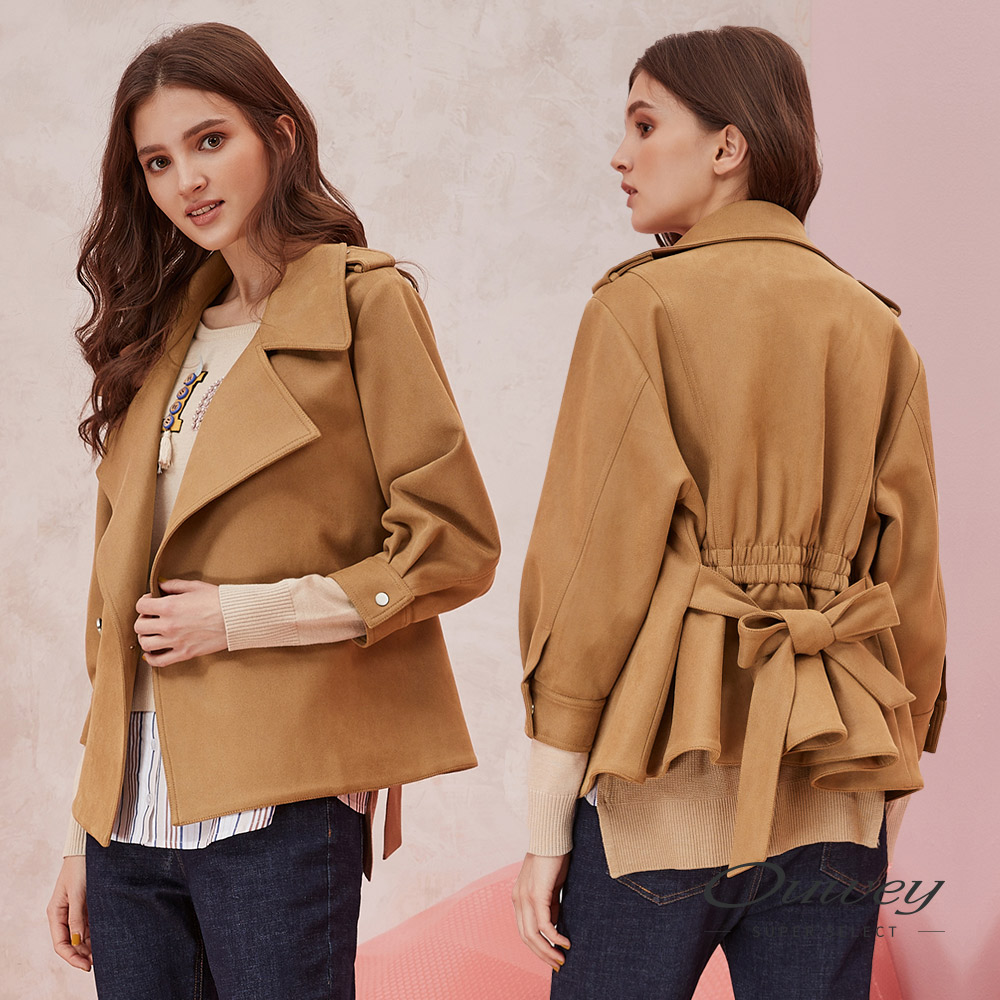 OUWEY歐薇 可調式綁帶八分袖騎士外套(咖) @ Y!購物