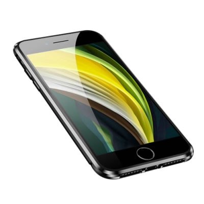 iPhone SE 2020 手機殼 金屬 透明 全包覆 磁吸雙面玻璃殼 黑色 (iPhoneSE2020手機殼 iPhoneSE2020保護殼 )