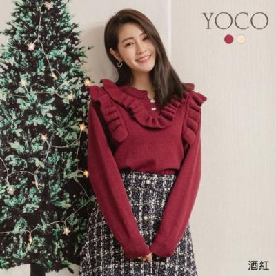 東京著衣-YOCO 擋不住的氣質荷葉滾邊針織上衣
