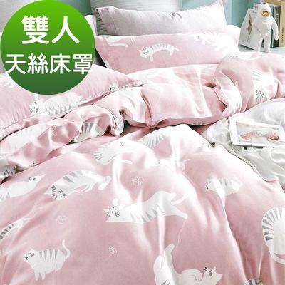 Saint Rose頂級精緻100%天絲床罩八件組(包覆高度35CM)-慵懶貓咪 雙人
