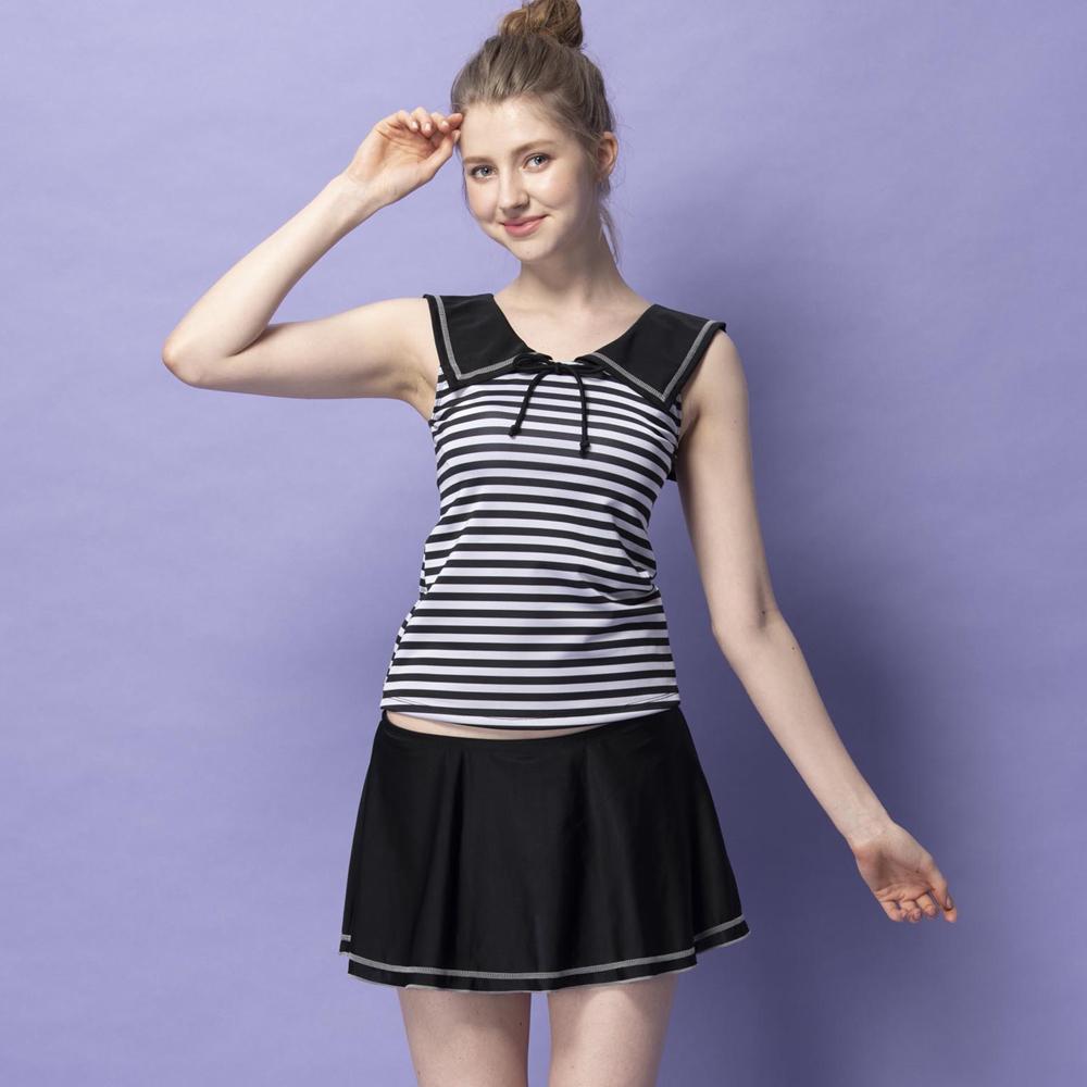 沙兒斯 泳裝 黑白橫紋兩件式女泳裝