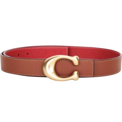 COACH Signature C字黃銅釦荔紋牛皮雙面用腰帶(紅x棕色)