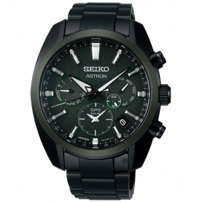 SEIKO 精工 Astron 綠陶瓷圈 GPS衛星定位雙時區手錶(SSH079J1/5X53-0BD0G)