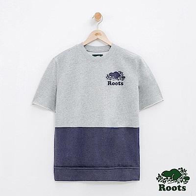 女裝Roots 雙色色塊短袖上衣-藍