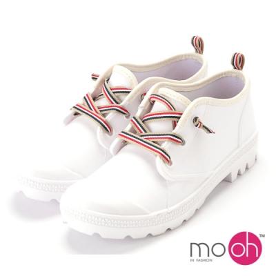 mo.oh愛雨天-素面拚色綁帶短筒雨鞋-白色