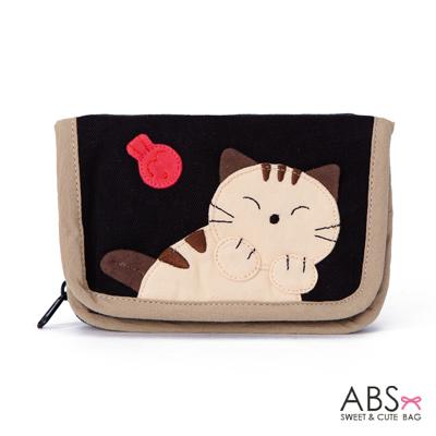 ABS貝斯貓 可愛貓咪手工拼布皮夾零錢包 88-005