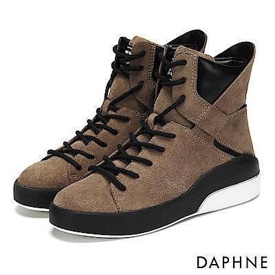 達芙妮DAPHNE 休閒鞋-異材質撞色拼接高筒綁帶休閒鞋-駝