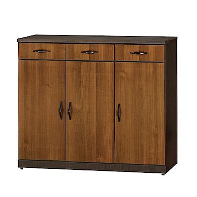 綠活居 德比瑞時尚4尺雙色三門鞋櫃/玄關櫃-119x37x100cm-免組