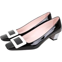 Roger Vivier Belle 配色漆皮高跟方釦鞋(黑色)