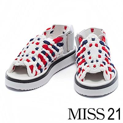 涼鞋 MISS 21 時尚潮流撞色編織造型厚底涼鞋 -紅藍