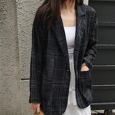 La Belleza棉麻格紋雙口袋單釦木釦翻領西裝外套