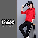 【KISSDIAMOND】韓版立體邊條顯瘦運動套裝紅色