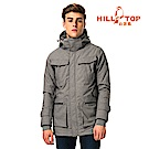 【hilltop山頂鳥】男款防水透氣保暖蓄熱羽絨長大衣F21M54鋼灰