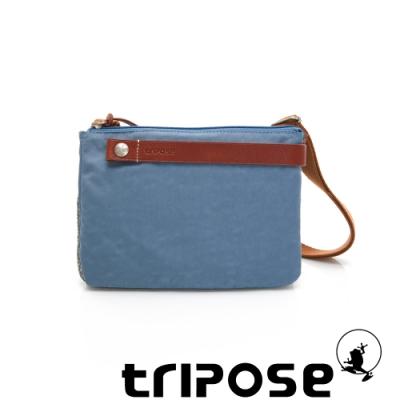 tripose 漫遊系列岩紋輕巧可拆式雙層斜揹小包 淺藍