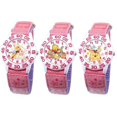 DISNEY迪士尼 自黏休閒織帶手錶小熊維尼33mm三款任選