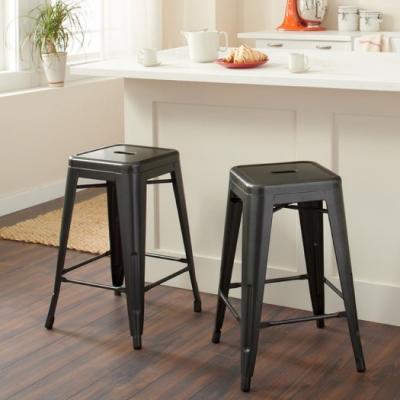 E-home Vali瓦力工業風可堆疊金屬吧檯椅-高61cm 黑色