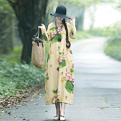 花荷葉綠棉麻洋裝-M~2XL(共二色)-Keer